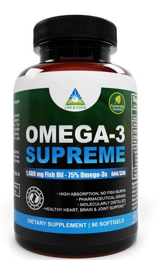 Omega 3 supreme 1400 mg fish oil concentrate 180ct review for Fish oil 1400 mg